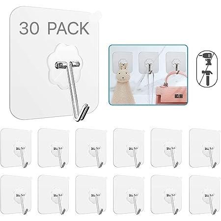 Transparent Reusable Seamless Hooks,Waterproof UK Wall Hooks 24 Pack 22lb Max