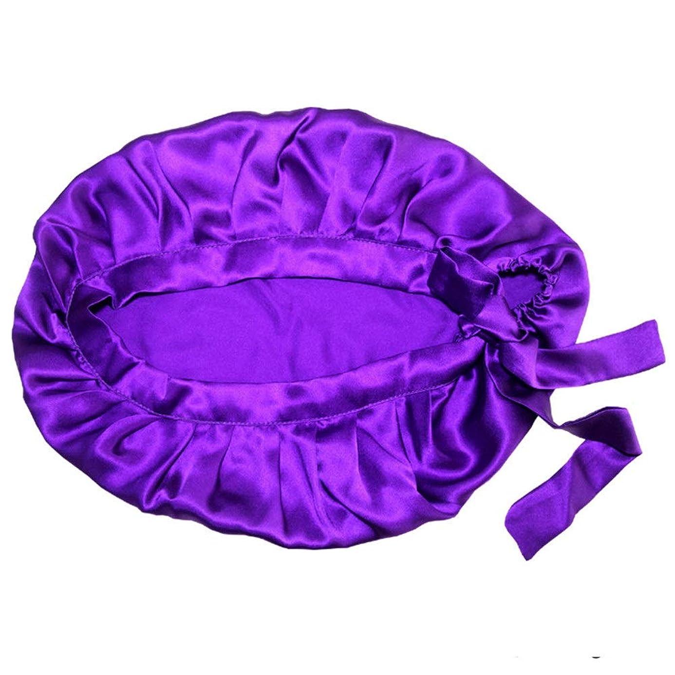 口述するエイズ波弾性スリーピングキャップ 大型睡眠用ボンネットキャップ女性用サテンボンネット寝心地用、超大型、超スムース、ナチュラルヘア用 (色 : 紫の)