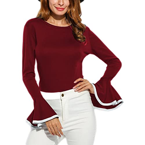 d96a15f5eaa9d Women s Long Bell Sleeve Blouse Loose Trumpet T-Shirt Casual Solid Flare  Tops