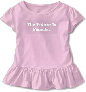 QUZtww Future is Female Toddler Baby Girl Basic Printed Ruffle Short Sleeve Cotton T Shirts Tops Tee Clothes Pink