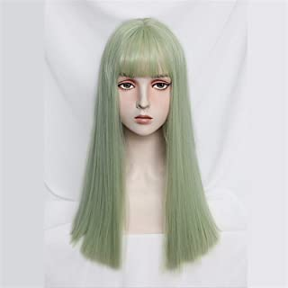 Hairpieces Women's Cosplay Wig Green Purple Gray Long Straight Synthetic Hair Band Bangs Heat-resistant Rose Net Hair Exte...