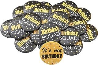 26pcs Birthday Button Pins Birthday Squad Pinback Buttons Bachelorette Pins for Men Boys 2 inch
