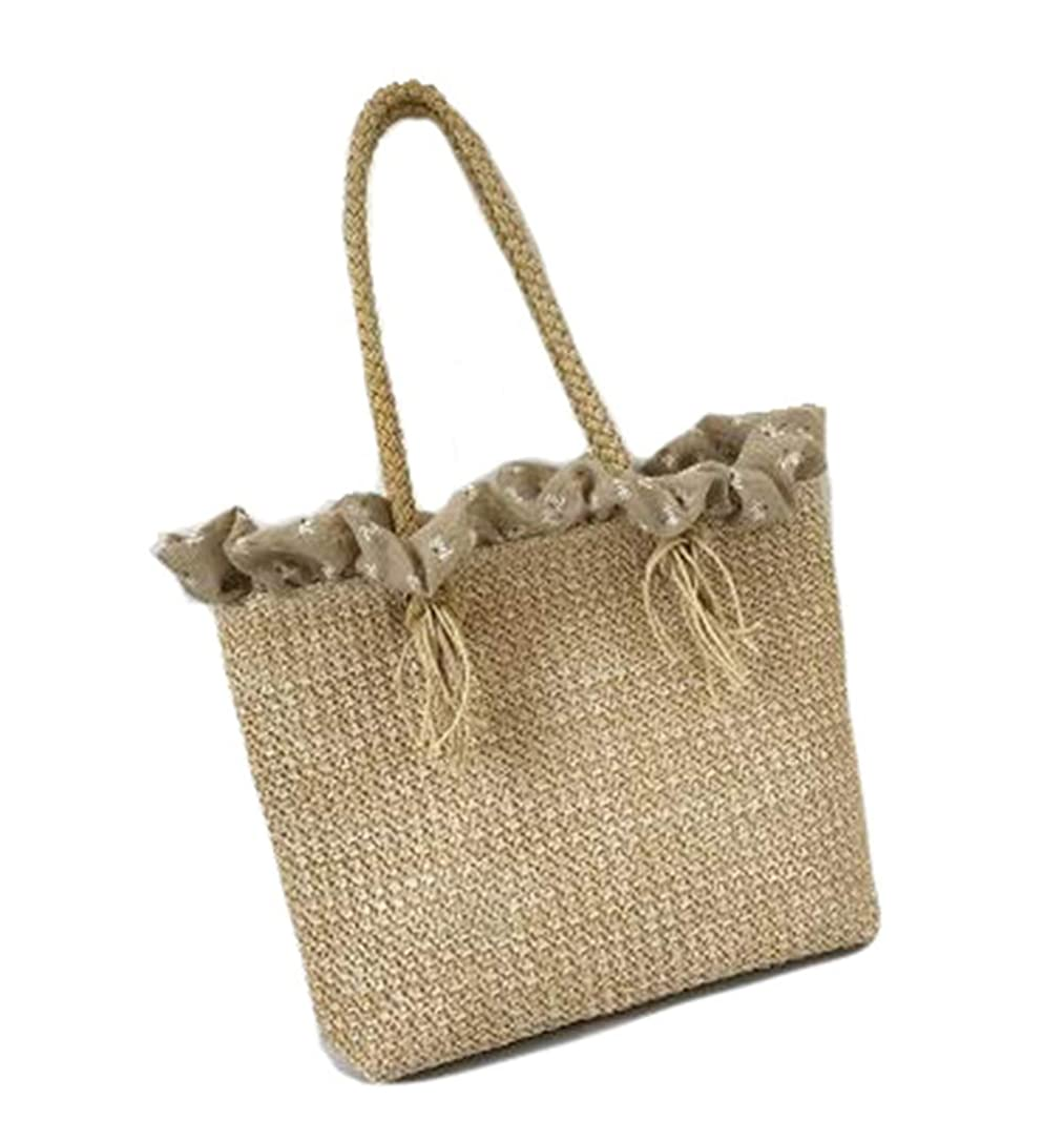 幻想受粉するマイクロPIITE バッグ レディース 手提げ 大容量 麦わらバッグ おしゃれ トートバッグ 軽量 海辺遊び 無地 かごバッグ ビーチバッグ シンプル かばん 森ガール 大人 ハンドバッグ ファッション