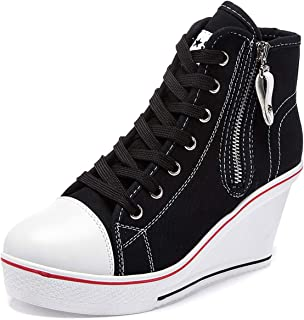 Women's Sneaker Fashion Canvas High-Heeled Shoes Pump Lace UP Wedges Side Zipper Shoes