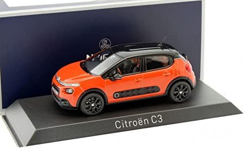 Norev- Citroen C3-2016-Echelle 1 43, 155266, Orange Noir