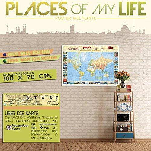 PLACES OF MY LIFE Poster Weltkarte deutschsprachig (1:50 Mio. | 100 x 70 cm), folienbeschichtet mit Metallbeleistung (fertig zum aufhängen) und ... + 54 Backdisc zum markieren von Reisezielen)
