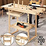 Banco de trabajo de madera de pino, con cajón y estante, 2 abrazaderas, 4 peldaños, carga máxima 200 kg – Mesa de Falegname, de taller