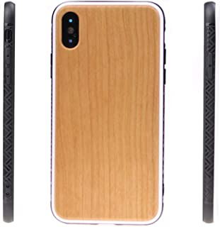 Wood Case for iPhone XS/X, Eco-Friendly Premium Real Wooden Grain Hybrid Snap-on Back Case Cover with Shockproof Soft TPU Bumper Protection for Apple iPhone XS/10S(2018) & X/10(2017) 5.8 Inch - Cherry