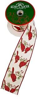 Kurt Adler Kurt S. Adler 10-Yard Woven Cardinal Pattern Ribbon