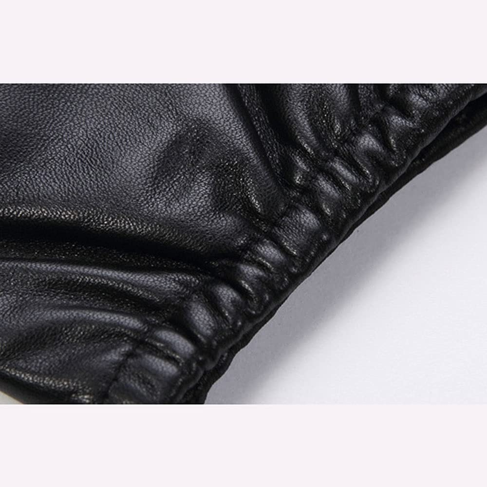 UimimiU Men's Genuine Leather Gloves Winter Wool-Lined Gloves Real Sheepskin Black Touch Screen Gloves Men Warm Cashmere Mitten Outdoor Riding Motorcycle Glove