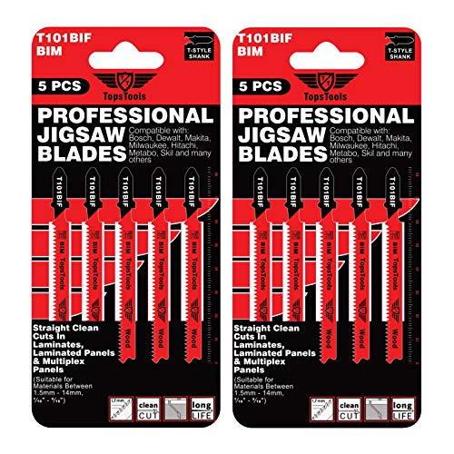 10 x TopsTools T101BIF Laminat Schneiden Stichsägeblätter kompatibel mit Bosch, Dewalt, Makita, Milwaukee und vielen mehr