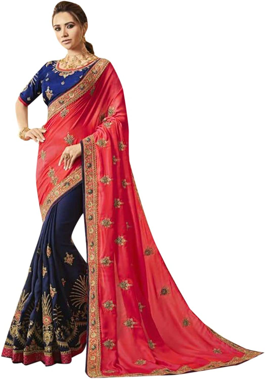Indian Ethnic Multicoloured Embroidery Silk Saree With Blouse Designer Collection Sari Party Wear 7174
