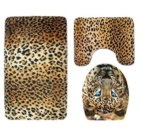 sunnymi Tiger Leopard Art WC Vorleger 49 * 75cm Badematte Bade Matte Rutschfester Badvorleger Badteppich,Rutschfester Sockel-Teppich + Deckel WC-Abdeckung + Badematte (B, Tarnung)