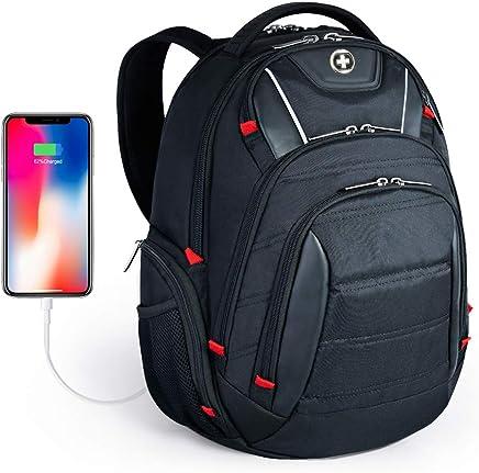 Swissdigital Laptop Backpack, Busniess Backpack USB Port,RFID Protection TSA Smart Scan Travel Fits Under 15.6-Inch Laptop Man, Black