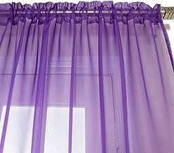 NIM Textile Elegant Sheer Voile Curtains Panels, Rod Pocket Top, 2 panles 140 cm x 230 cm Each, Purple, Love Inn Collection