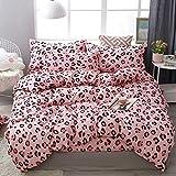 Morbido Conjunto Leopardo Pink Parrizer Juego de ropa de cama Algodón Edredón Cubierta de fundición Funda de almohada Revestimientos de cama para cama Textil de casa para la decoración de la ropa de c