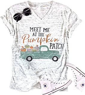 Funny Halloween Short Sleeve V Neck Tee Tops Womens Pumpkin Graphic T Shirt Retro Car Letter Print Blouse Tops (White, XXL)