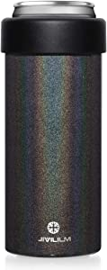 JIVILILM Slim Cooler for 12oz Cans. Stainless Steel, Vacuum Insulated, Double Walled Beer/Soda/Beverage/Energy Drinks Skinny Cans Holder (Glitter Black)