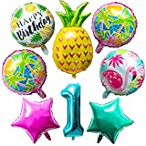OSNIE Hawaiian Balloons Party Decorations for 1st Birthday, 8 Pcs Giant Foil Mylar Balloons Pineapple Flamingo Palm Tree Leaves Tiki Summer Beach Pool Aloha Tropical Luau Party Decorations Supplies