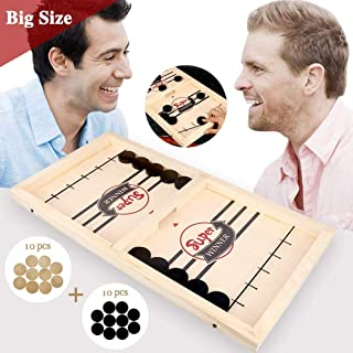 Fast Slingshot Puck Game Paced, Table Desktop Battle 2 in 1 Ice Hockey Game/ Winner Board Games Toys for Adults Parent-Child Interactive Chess Toy Board Table Game (14.6x9.5x1.18in)