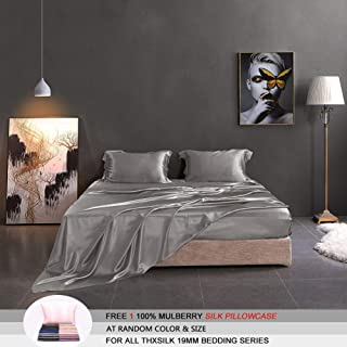 THXSILK Silk Sheet Set 4 Pcs, 19 Momme Silk Bed Sheets, Luxury Bedding Sets -Ultra Soft, Durable-100% Top Grade Mulberry Silk - Cal King Size, Grey