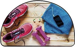 YOLIYANA Fitness Half Circle Rug,Gymnasium Theme Womens Running Shoes and Dumbbells Equipment for Training Image Decorative Door Mat,27.5