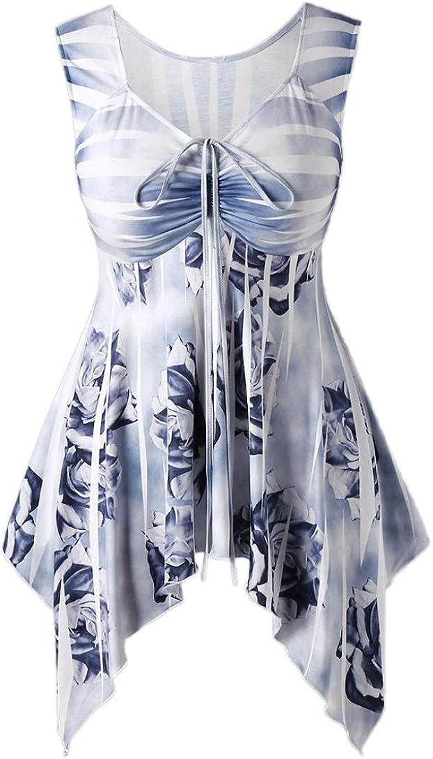 HODOD Women Sexy Striped Bandage Floral Printed Handkerchief Top Tank Camis Vest