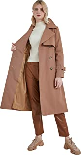معطف مطر شامل حزام المرأة مزدوجة الصدر القطن الكلاسيكية طية صدر السترة ملابس خارجية طويلة أزياء المرأة