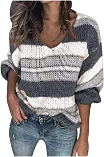Women's Strip Color Block Sweater Long Sleeves Stitching Color Round Neck Loose Pullovers Jumper Tops