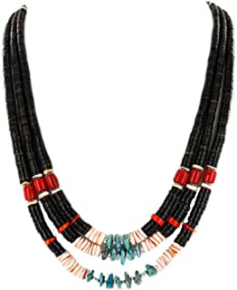 925 Sterling Silver Authentic Strand-Charlene Little-Navajo Graduated Heishi, Turquoise and Coral