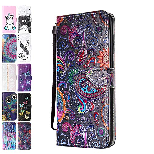 Ancase Lederhülle kompatibel für Samsung Galaxy A71 2020 Hülle Bunte Spitze Muster Handyhülle Flip Hülle Cover Schutzhülle mit Kartenfach Leder Tasche für Mädchen Damen
