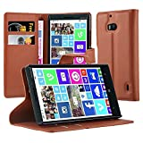 Cadorabo Hülle für Nokia Lumia 929/930 - Hülle in Schoko BRAUN – Handyhülle mit Kartenfach & Standfunktion - Case Cover Schutzhülle Etui Tasche Book Klapp Style