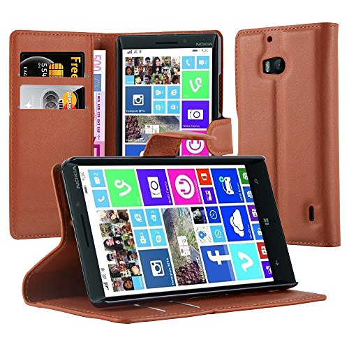 Cadorabo Hülle für Nokia Lumia 929/930 in Schoko BRAUN - Handyhülle mit Magnetverschluss, Standfunktion & Kartenfach - Hülle Cover Schutzhülle Etui Tasche Book Klapp Style