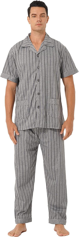 JanJean Mens Cotton Pajama Set Sleepwear Short Sleeve Button Down Shirt with Long Pants Loungewear