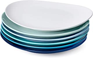 Sweese 150.003 Porcelain Dinner Plates - 11 Inch - Set of 6, Cool Assorted Colors