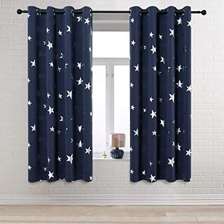Star Print Self-Adhesive Blinds Blackout Window Curtains Shade for Home Bedroom