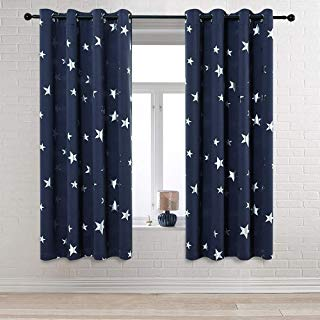 Anjee Navy Blue Star Print Blackout Curtains 63 Inch for...