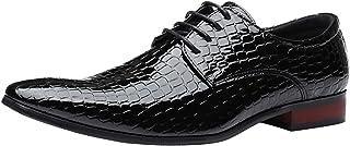DADAWEN Hommes Chaussures de Ville à Lacets Pointu-Toe Chaussures Oxford Quatre Saisons Chaussures