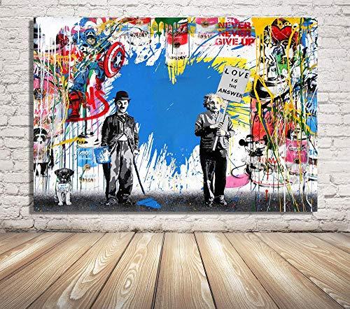 Faicai Art Banksy Graffiti Street Art Pop Art Famous Character Background Canvas Paintings Blue Wall Art Prints Wall Decor Wooden Framed 24'x36'