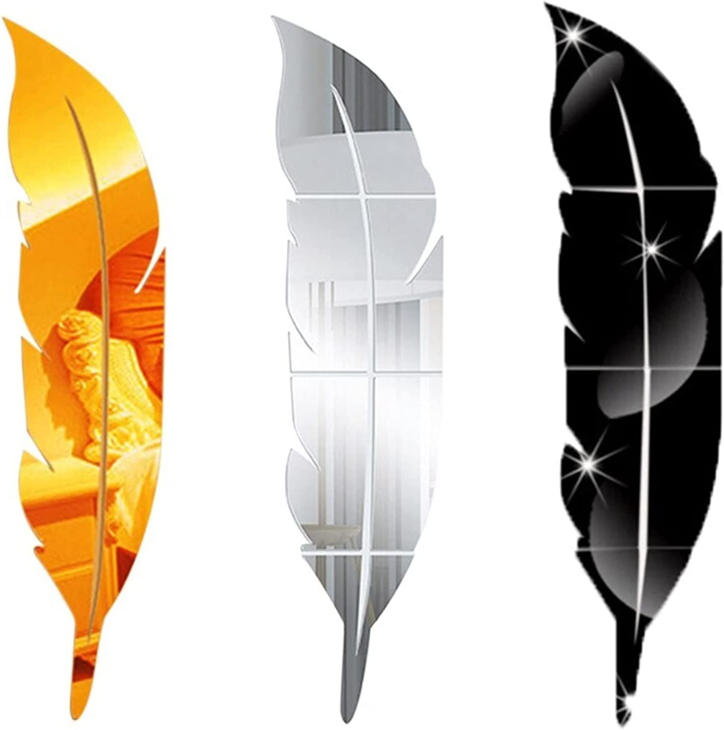 U D HLIAN Our shop most popular Large Feather Decoration Mirror Sale SALE% OFF Self-Adhe Acrylic Home