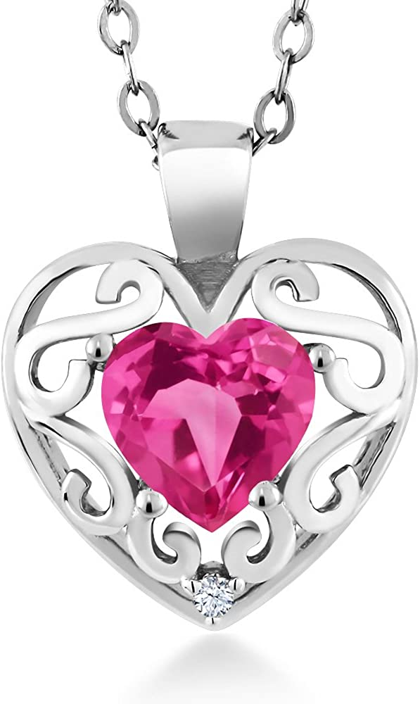 Gem Stone King All stores are sold 0.96 Ct Heart Shape Charlotte Mall Mystic Sterlin 925 Pink Topaz
