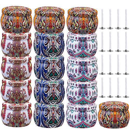 Ahyiyou DIY Candle Tins 16 Piece, 4.4OZ Round Containers with Lids for Candle Making, Arts & Crafts, Storage & More