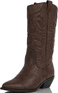 Soda Women's Red Reno Western Cowboy Pointed Toe Knee High Pull On Tabs Boots