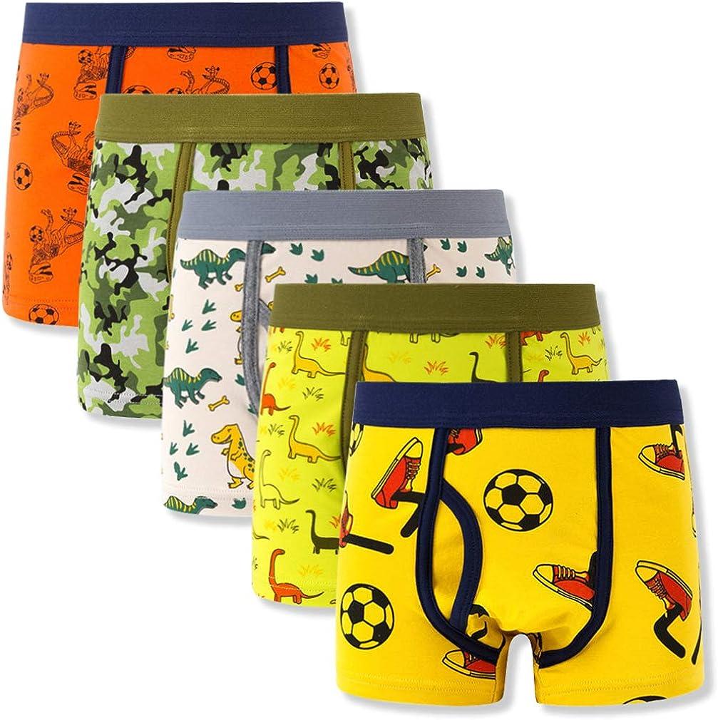 Toddler Boys' Boxer Briefs Boy Comfort Flex Fit Underwear Assorted Color 5-Pack