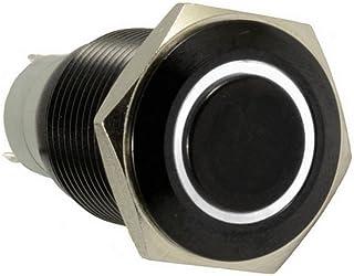 E Support™ Schwarz Shell Engel Auge KFZ Auto Kippschalter Druckschalter Schalter Drucktaster Druckknopf 16mm 12V 3A Weiß LED Licht Metall