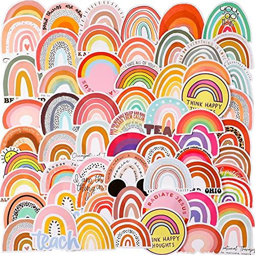 100 Stücke Regenbogen Aufkleber Wasserdichte Regenbogen Aufkleber für Mädchen Vinyl Aufkleber Bunte Laptop Aufkleber Langlebige Modische Dekorative Aufkleber für Laptop Gepäck Auto Handy