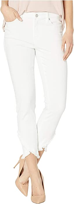 Abby Crop Skinny Front Scallop Hem Jeans in Bright White