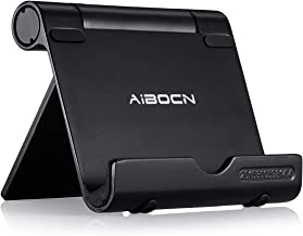 Aibocn Upgraded Multi-Angle Aluminum Stand for Tablets Smartphones and E-Readers Compatible with iPhone iPad Air iPod Samsung Galaxy/Tab HTC Google Nexus LG OnePlus and More, Black