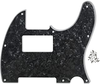 IKN 8 Holes TELE Scratch Front Plate Humbucker Style Pickguard for Telecaster Style Guitar Replacement (4Ply Black Pearl)