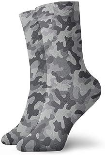 tyui7, Patrón de camuflaje de camuflaje Calcetines de compresión antideslizantes grises Cosy Athletic 30cm Crew Calcetines para hombres, mujeres, niños